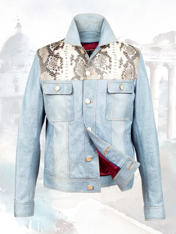 Python and Lambskin Silk Leather Jackets For Men