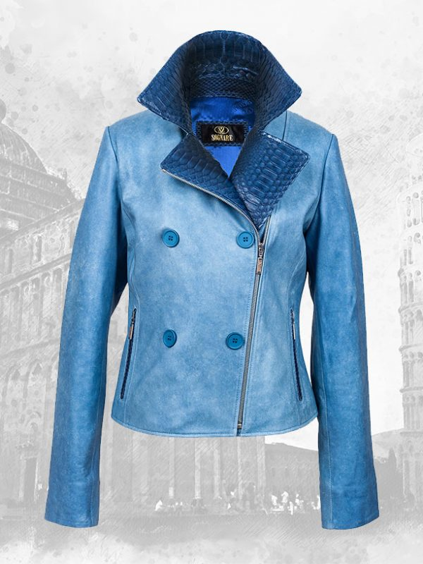 Python and Lambskin Silk Leather Women's Jackets