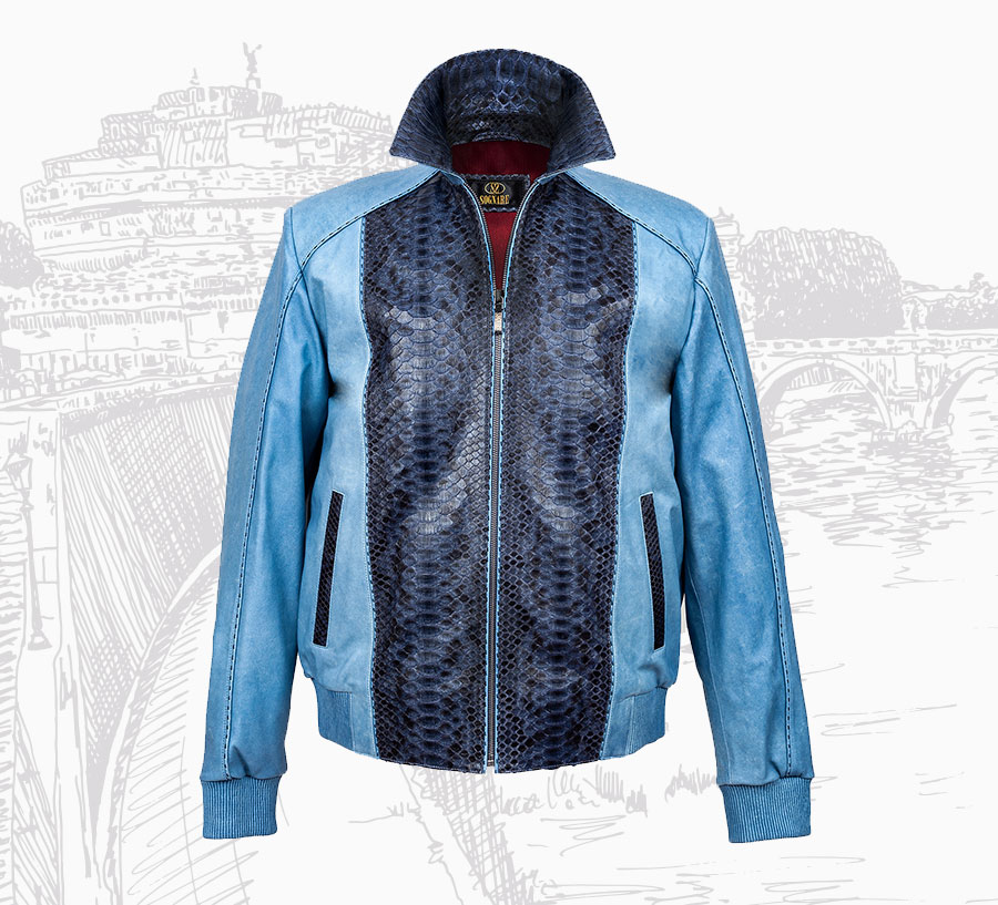 Elegant Python and Lambskin Silk Leather Men's Jackets