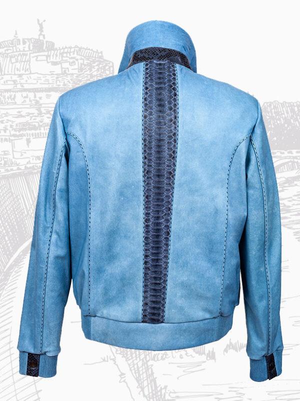 Elegant Python and Lambskin Silk Leather Men's Jackets